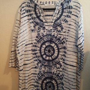 Avenue Tye Dye Tunic  Blue White